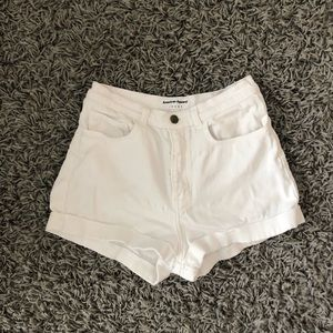 American Apparel white high waisted jean shorts